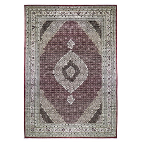 Oversize Tabriz Mahi Fish Design 200 KPSI Wool And Silk Hand Knotted Oriental Rug