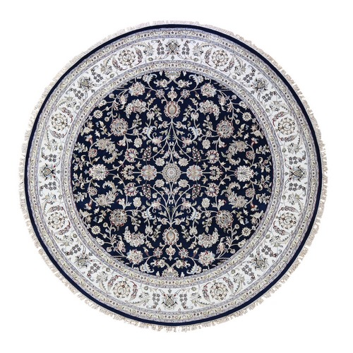 Wool And Silk 250 KPSI Navy Nain Hand Knotted Oriental Round Oriental