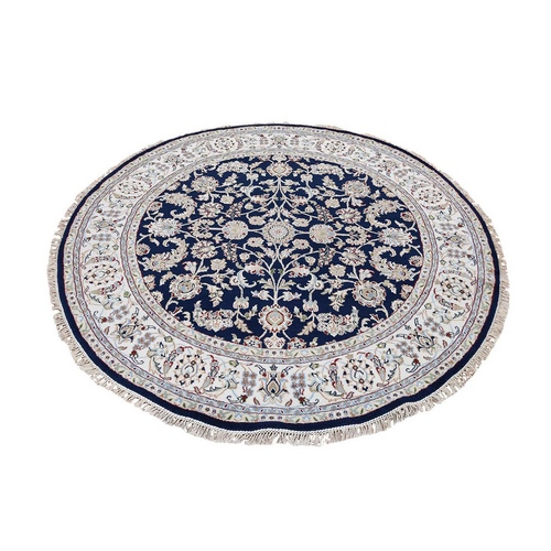Wool And Silk 250 KPSI Navy Nain Hand Knotted Oriental Round Oriental Rug
