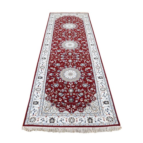 Wool And Silk 250 KPSI Red Nain Hand Knotted Runner Oriental