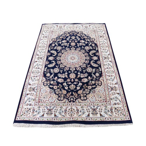 Blue Nain Wool And Silk 250 KPSI Hand Knotted Oriental Rug