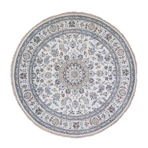 Round Wool And Silk 250 KPSI Ivory Nain Hand Knotted Oriental Rug