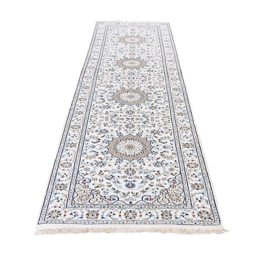 Wool And Silk 250 KPSI Ivory Nain Hand Knotted Oriental Runner Rug
