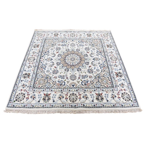 Square Ivory Wool And Silk 250 KPSI Nain Hand Knotted Oriental Rug