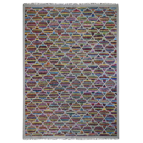 Geometric Design Kilim Hand Woven Cotton and Sari Silk Oriental