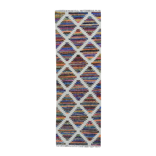 Colorful Cotton and Sari Silk Geometric Design Kilim Runner Oriental
