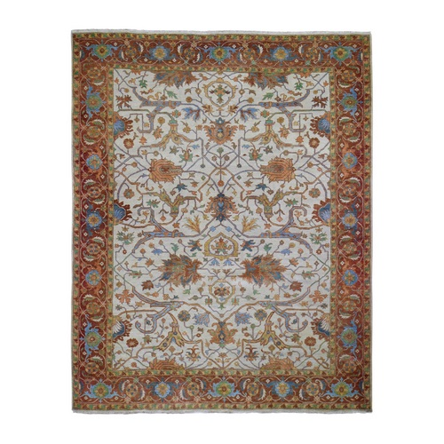 Ivory Heriz Re-Creation Vegetable Dyes Pure Wool Hand Knotted Oriental Rug
