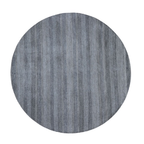 Round Gray Grass Design Wool And Silk Hand Knotted Oriental