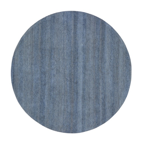 Round Blue Grass Design Wool And Silk Hand Knotted Oriental