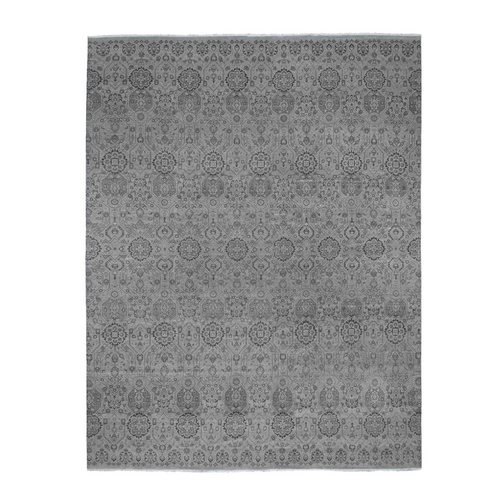 Oversized Gray Jewellery Design Pure Wool Hand Knotted Oriental Rug