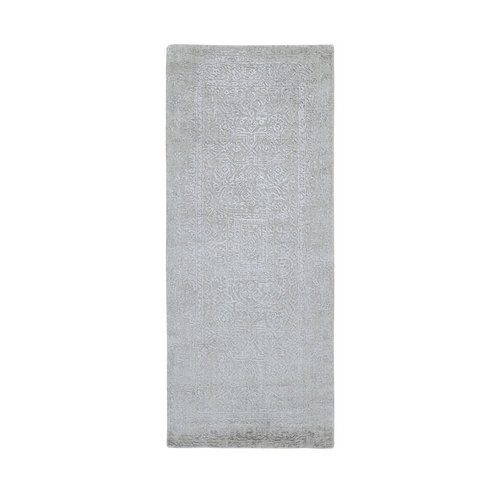 Gray Fine jacquard Hand Loomed Modern Wool And Art Silk Runner Oriental