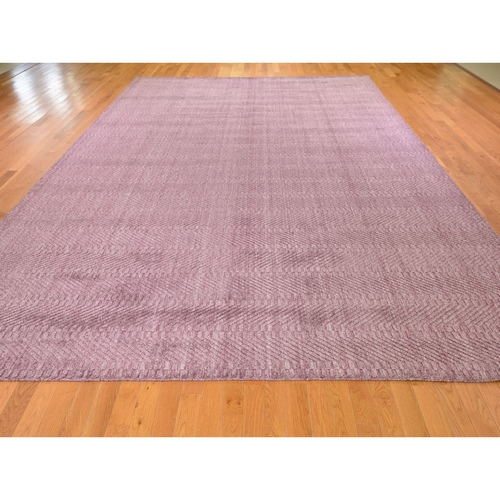 Lavender Wool and Silk Tone on Tone Hand Loomed Oriental