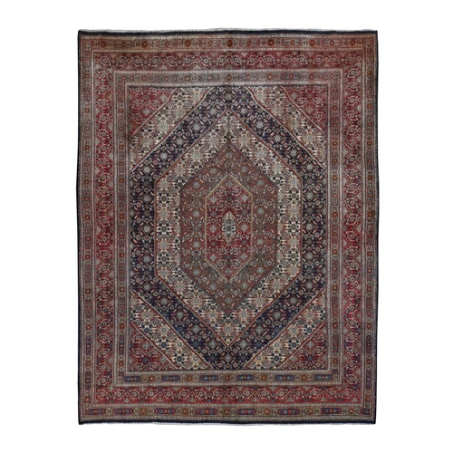 Red Persian Moud With Geometric Design Pure Wool Hand Knotted Oriental