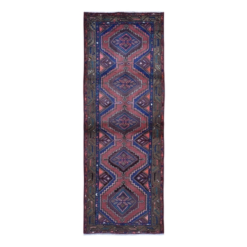 Brick Red New Persian Hamadan Pure Wool Hand Knotted Wide Runner Oriental