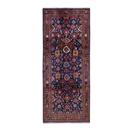 Navy Blue Vintage Persian Mahal Wide Runner Exc Cond Pure Wool Hand Knotted Oriental