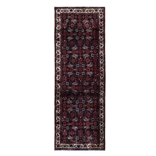 Navy Blue New Persian Malayer All over Design Wide Runner Pure Wool Hand Knotted Oriental