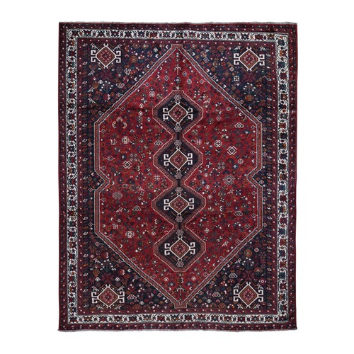 Red Semi Antique Persian Shiraz Exc Cond Pure Wool Hand Knotted Oriental