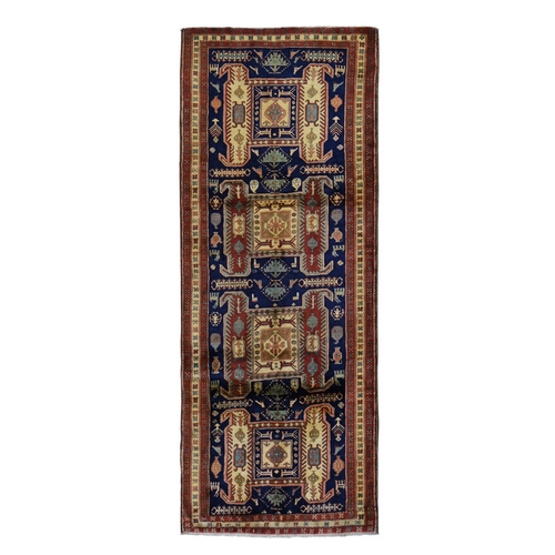 Gallery Size Navy North West Persian With Large Elements And Birds Pure Wool Oriental