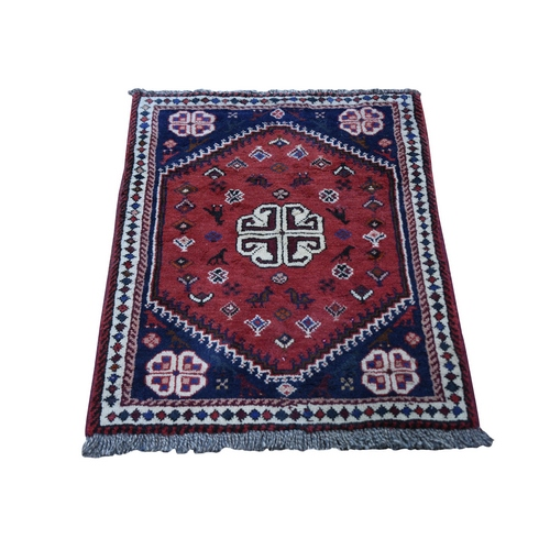 Red New Persian Shiraz Nomad Vivid Full Pile Hand Knotted Bohemian