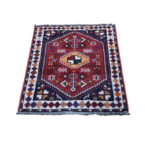 Red New Persian Shiraz With Figurines Nomad Vivid Hand Knotted Pure Wool Small Bohemian