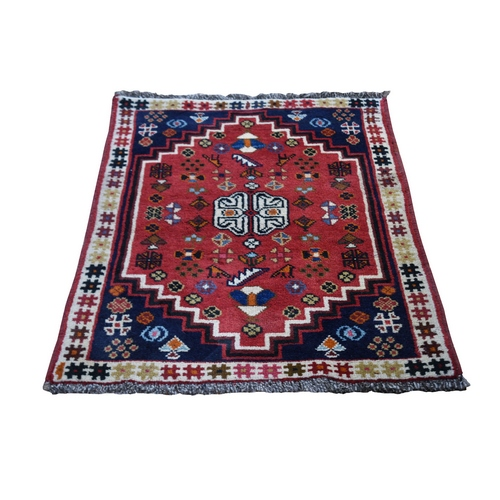 Red New Persian Shiraz With Figurines Nomad Vivid Hand Knotted Pure Wool Small