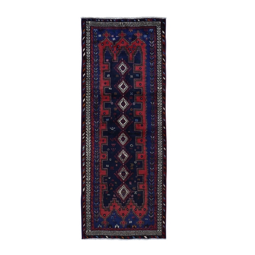 Navy Blue New Persian Afshar Geometric Design Pure Wool Hand Knotted Wide Runner Oriental
