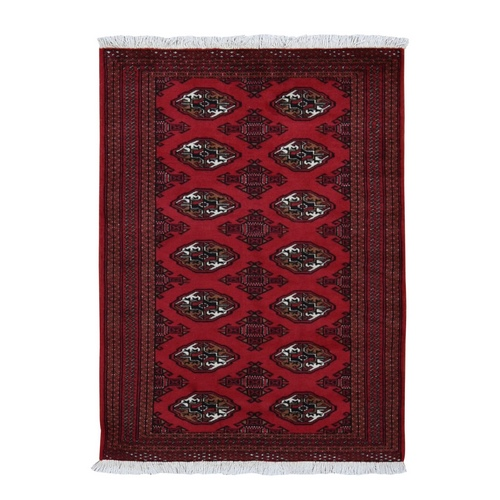 Red New Persian Turkoman Bokara Pure Wool Hand Knotted Oriental Rug