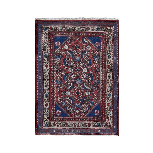 Red Vintage Persian Hamadan Mahi Fish design Pure Wool Hand Knotted Oriental Rug