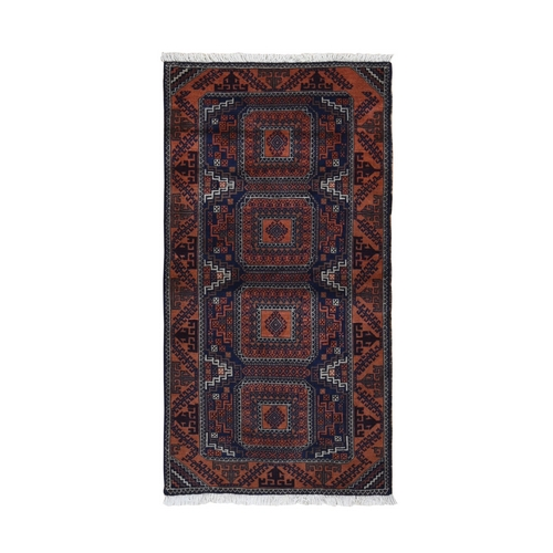 Navy Persian Baluch Geometric Design Pure Wool Hand Knotted Oriental Rug
