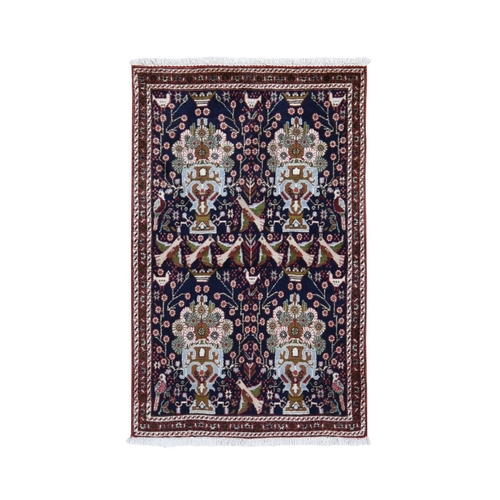Navy New Persian Birjand With Flower And Birds Design Hand Knotted Pure Wool Oriental Rug