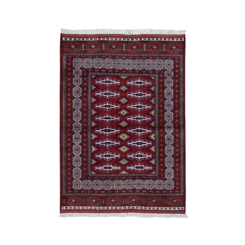 Red New Persian Turkoman Bokara Pure Wool Hand Knotted Bohemian Rug