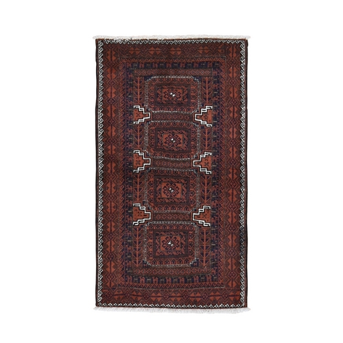 Red Vintage Persian Baluch Tribal Design Pure Wool Hand Knotted Oriental Rug