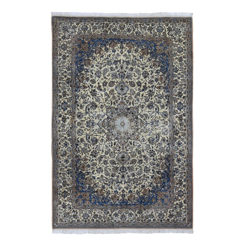 Ivory Vintage Persian Nain Clean 400 KPSI Wool And Silk Exc Cond Hand Knotted Oriental Rug