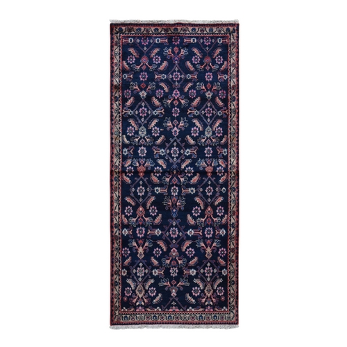 Navy Blue Vintage Persian Malayer Herat Fish Design Wide Runner Hand Knotted Bohemian Rug