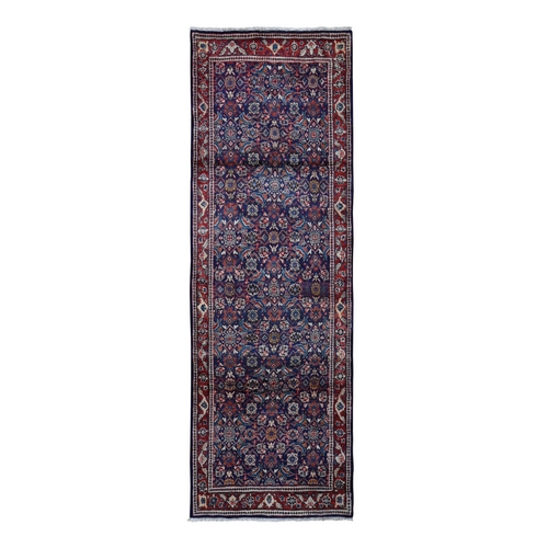Navy Blue Vintage Persian Mahal All Over Fish Design Wide Runner Oriental Rug