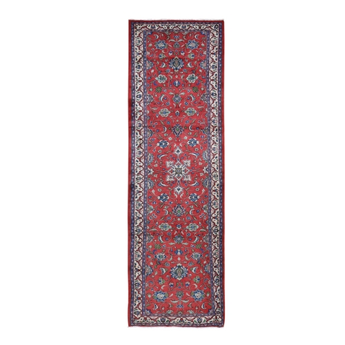 Red New Persian Sarouk Pure Wool Hand Knotted Runner Oriental Rug