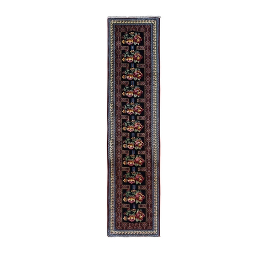 Navy Blue New Persian Bijar Dense Weave Repetitive Flower Design Narrow Runner