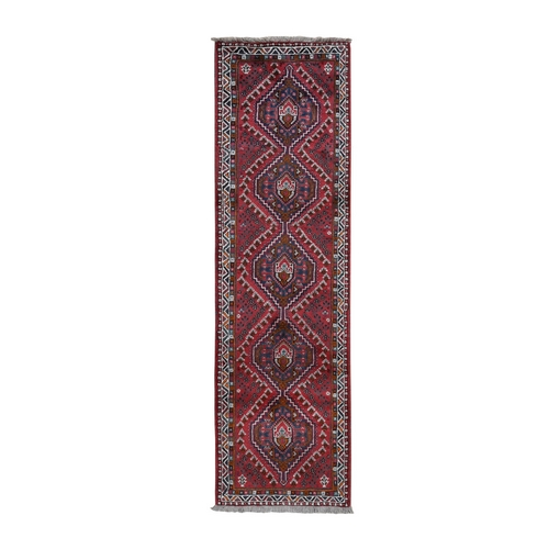 Red New Persian Shiraz Pure Wool Runner Hand Knotted Tribal Design Bohemian Rug