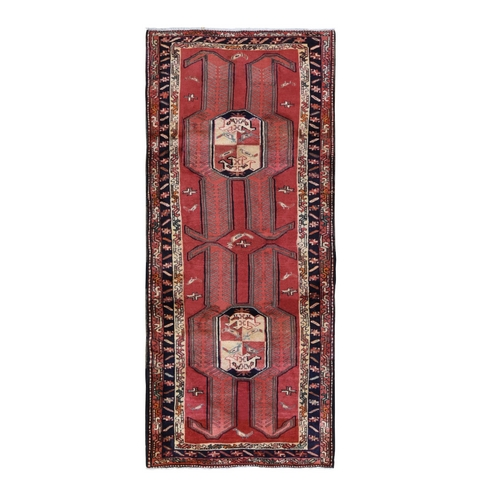 Red Vintage North West Persian With Large Elements Wide Runner Pure Wool Bohemian