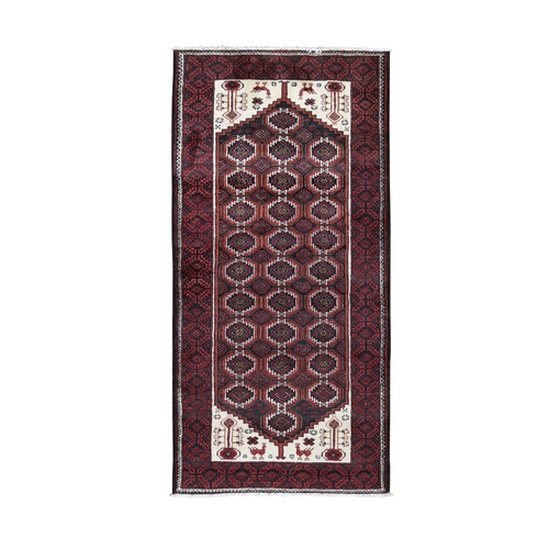 Red Vintage Persian Baluch With Peacock Design Wide Runner Pure Wool Hand Knotted Oriental