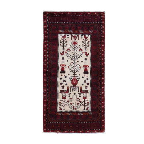 Ivory Vintage Persian Pictorial Baluch Also Wall Hanging Pure Wool Hand Knotted Oriental Rug
