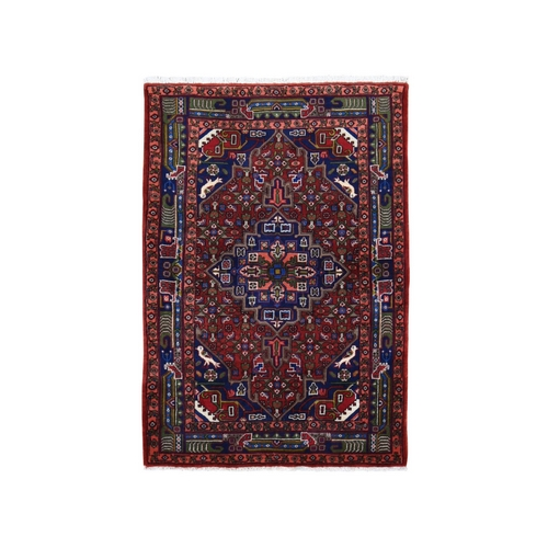 Red New Persian Senneh Dense Weave Pure Wool Hand Knotted Oriental Rug