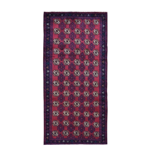 Red Vintage Persian Baluch Wide Runner Tribal Design Pure Wool Hand Knotted Oriental Rug
