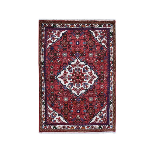 Red New Persian Hamadan Pure Wool Hand Knotted Bohemian