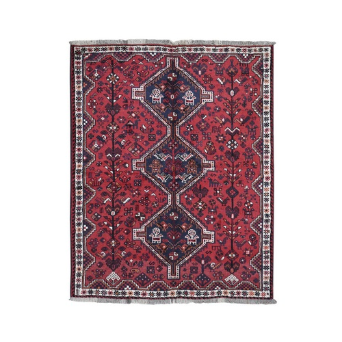 Red New Persian Shiraz Pure Wool Hand Knotted Oriental