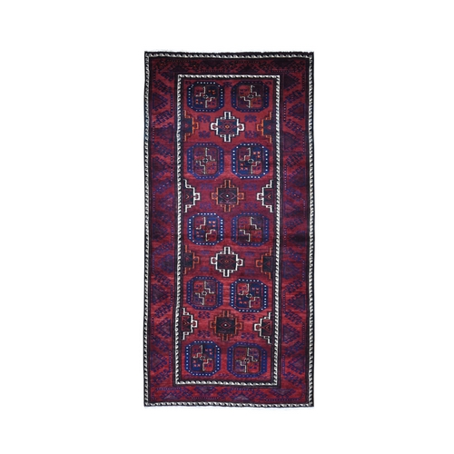 Red Vintage Persian Baluch Geometric Design Runner Pure Wool Hand Knotted Oriental