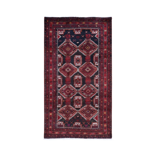 Red Vintage Persian Baluch Geometric Design Exc Cond Pure Wool Hand Knotted Oriental