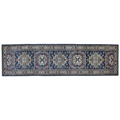 Blue Super Kazak Geometric Design Pure Wool Hand Knotted Runner Oriental