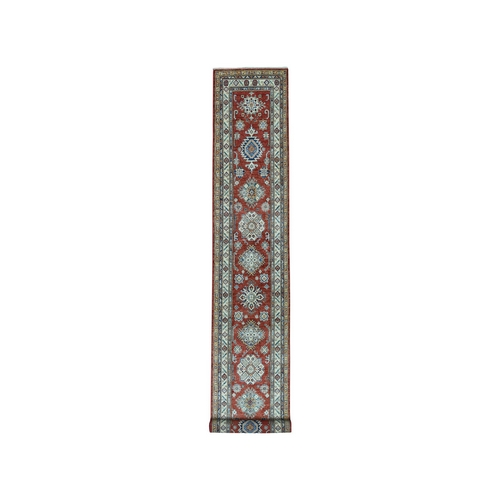 Red Super Kazak Geometric Design Runner Pure Wool Hand Knotted Oriental
