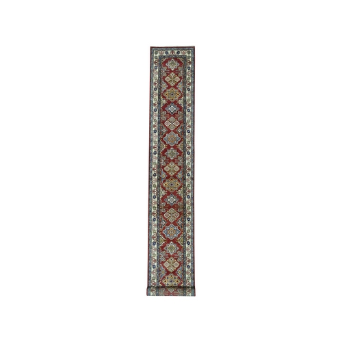 Red Super Kazak Geometric Design XL Runner Pure Wool Hand-Knotted Oriental